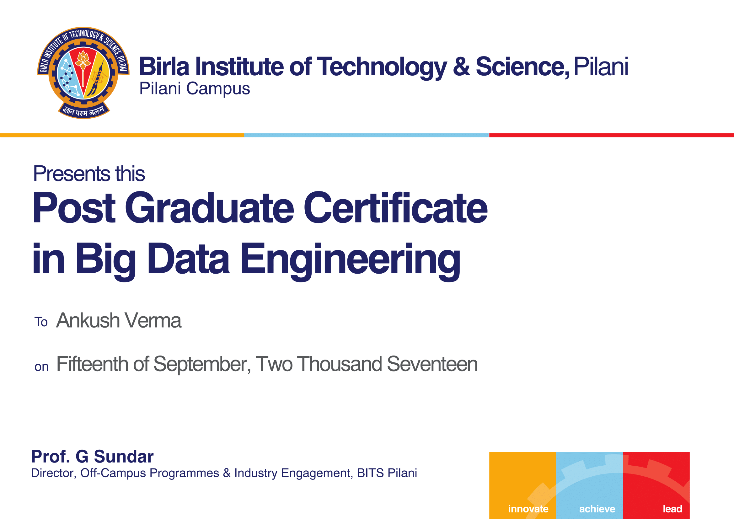 Bits pilani pgp in big data engineering successfully complete all courses and be eligible to receive a post graduate program certificate and transcript from bits pilani xflitez Images