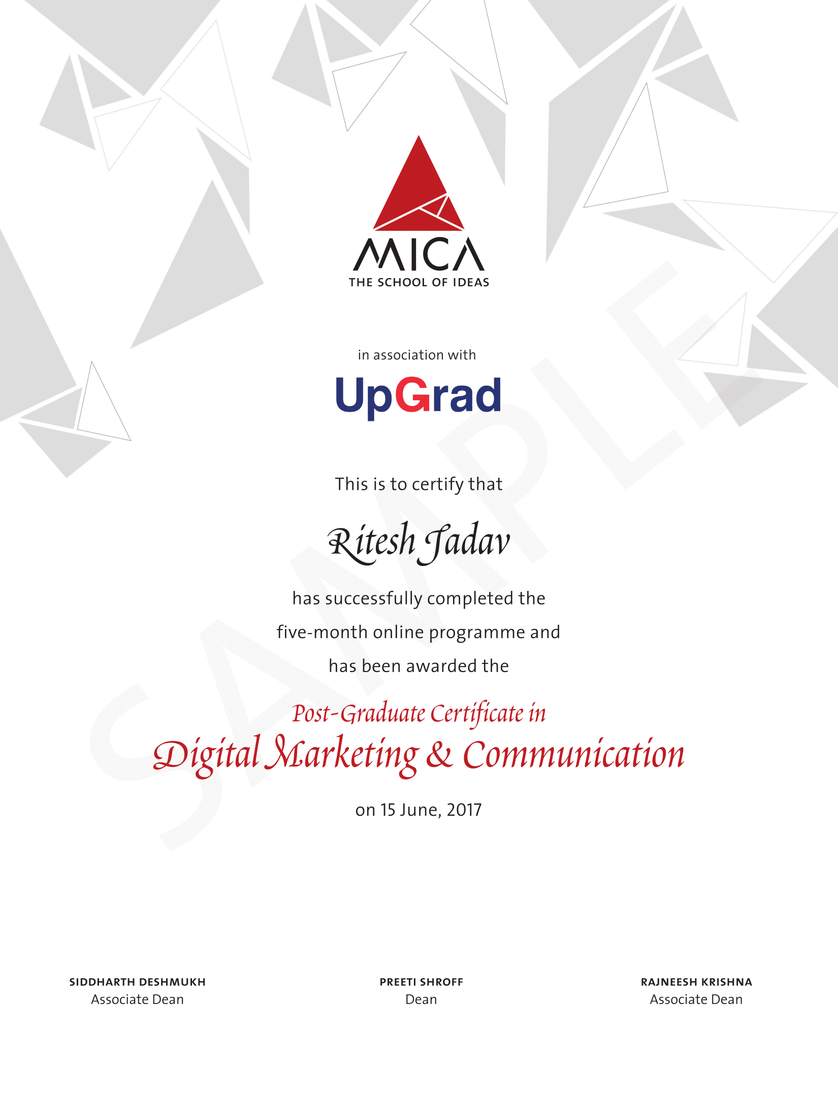 Mica digital marketing communication pg certification upgrad you will be awarded a post graduate certification in digital marketing communication from mica receive official mica alumni status be part of a xflitez Images